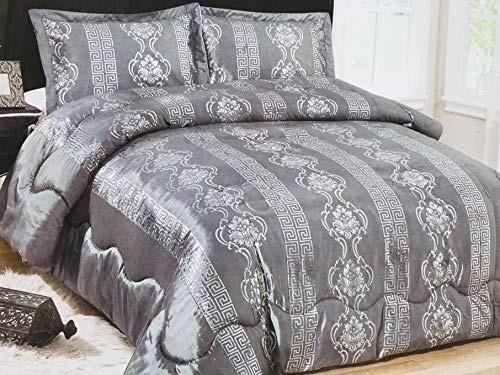 König 3-teiliges Set (Deko-König 3 teiliges Versus Tagesdecke Set Bettdecke Bettüberwurf (Silber))
