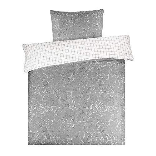 KEAYOO Bettwäsche Grau Weiß Flecken 135x200 cm Wendebettwäsche 100{e579c0b96f215bc18b627da2d900b59d71cc4eb32737abbc2a5a0b8484e80503} Baumwolle Soft Touch mit Reißverschluss 2teilig Set