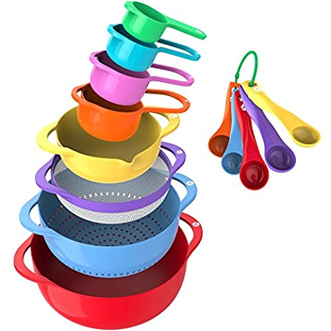 Vremi 13 Piece Mixing Bowl Set - BPA Free Plastic Mixing Bowls Nested Colorful with Measuring Cups and Teaspoons - Large Small Stackable Nesting Kitchen Bowls with Handles and Pour Spout for