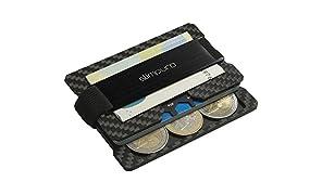 """Premium Kartenetui aus Carbon mit Münzfach und Metal Geldklammer für bis zu 16 Karten - RFID/NFC Schutz – Slim Wallet - Carbon Etui - Typ""""C2"""""""