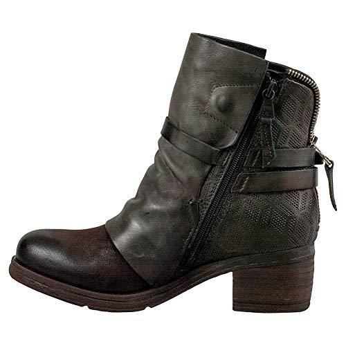 Miz Mooz Frauen Pumps Rund Leder Fashion Stiefel Braun Groesse 9 US /40 EU Soft-toe Side Zip