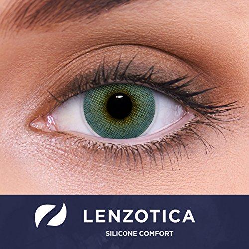 """Stark deckende natürliche blaue Kontaktlinsen farbig SILICONE COMFORT """"Atlantis Blue"""" + Behälter von LENZOTICA I 1 Paar (2 Stück) I DIA 14.00 I ohne Stärke I 0.00 Dioptrien"""