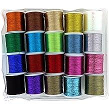 Hilo de coser de Poliéster Metálico Brillante 20 Piezas por Curtzy - Pack de Carretes de Hilo de Coser para Todo Uso - Ideal para Máquina de Coser o Costura a mano - Mejor Kit Mujeres Hombres y Niños