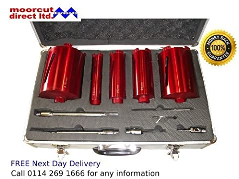 Dry Diamond Core Drilling 5pc Kit for Plumbers/Builders in Aluminium Case