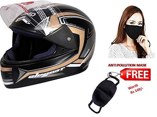 JMD ELEGANT Premium Decor D1 Black-Golden (Matt,L) Full Face Helmet