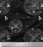 Soimoi Schwarz Baumwolle Ente Stoff Sonnensystem und Rakete