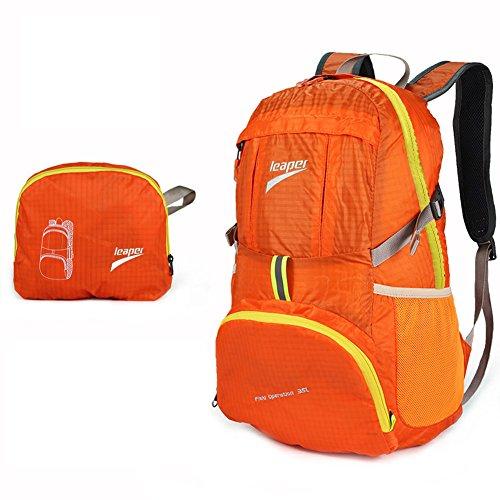 Leaper faltbar wasserdicht Multifunktionsrucksack für Ausflug Reisen, 35L(Orange) Orange