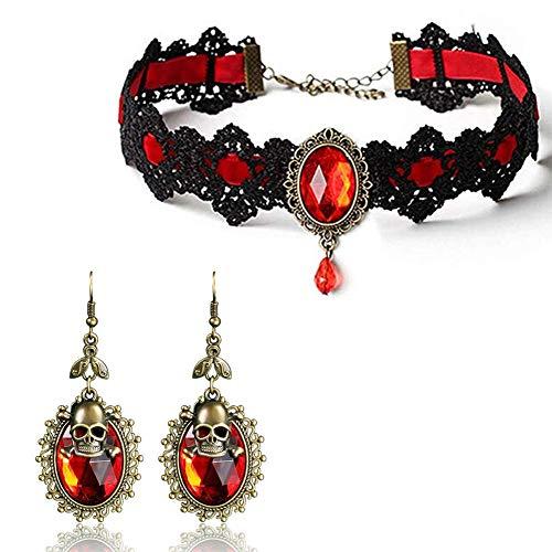 Punk Black Lace Schädel Gothic Lolita Red Strass Anhänger Choker Halskette Ohrringe Set Halloween Masqueade Zubehör