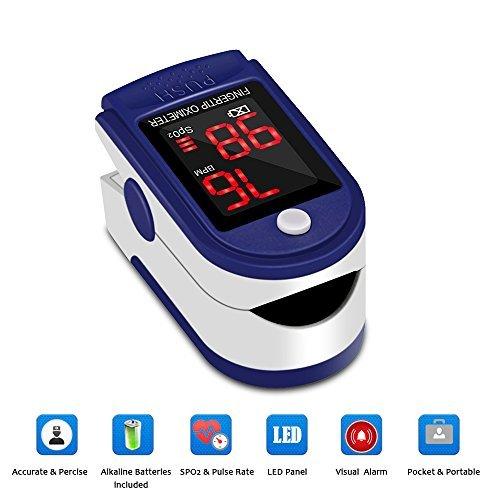 Hermano Finger Pulsoximeter–Portable Blutsauerstoffsättigung und Herzfrequenz-Monitor mit Lanyard und Speicherung bag & Batterien