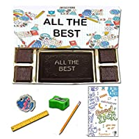 BOGATCHI All The Best Chocolate Gift for Exams, Dark Chocolae Bar + 4pcs Dark Chocolate + Free Exam Wishes Card + Exam Kit for Kids