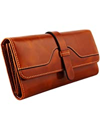 Kattee® Portefeuille Femme Homme Cuir Vintage Porte Monnaie Zippé Bouton
