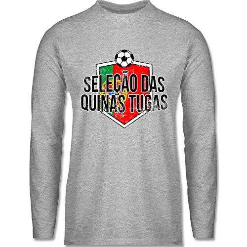 Shirtracer Fußball-WM 2018 - Russland - Portugal-Seleção Das Quinas Tugas Vintage - Herren Langarmshirt Grau Meliert