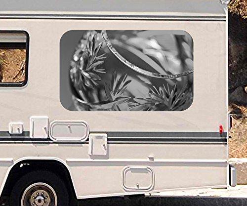 3D Autoaufkleber Weinbrand Glas gold Wein abstrakt schwarz weiß Wohnmobil Auto Fenster Sticker...