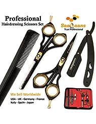 Saaqaans SQKIT Professionelle Friseurschere Eingestellt - Hochwertige Edelstahl Rasiermesser Rand 6 Zoll Friseur Schere - Vervollkommnen Sie für Stilvolles Haar-Ausschnitt, Trimmen Sie Ihren Bart und Schnurrbart
