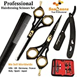 Saaqaans SQKIT Professional Hairdressing Scissors Set - High Quality Stainless Steel Sharp Razor Edge 6 inches Hairdresser Shears Set - Package includes 1 x Barber Scissor + 1 x Thinning Shear + 1 x Straight Edge Cut Throat Shaving Razor +