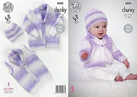 King Cole Baby Chunky Knitting Pattern Easy Knit Cardigan Waistcoat & Hat (4580)