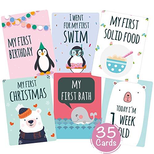 35 Baby Meilenstein-Karten für Jungen und Mädchen mit hochwertiger Verpackung von Cozy Racoon (Sprache English) - Meilensteinkarten - Geschenk zur Geburt, Babyparty, Schwangerschaft