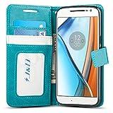 JD Coque Moto G4/G4 Plus, [Stand de Portefeuille] Etui Portefeuille de Protection Antichoc avec Stand pour Motorola Moto G4, Moto G4 Plus - Turquoise