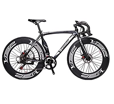 Cyrusher Machete Black Aluminium Frame 54 cm 700C 70MM Mens Road Bike Speeds Road Bicycle Mechanical Disc Brakes