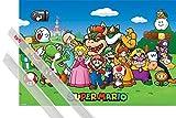 1art1® Póster + Soporte: Super Mario Póster (91x61 cm) Princess Peach, Luigi and Other Characters Y 1 Lote De 2 Varillas Transparentes