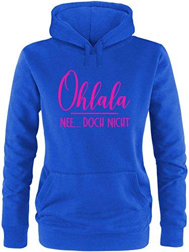EZYshirt® Ohlala - Nee...doch nicht Damen Hoodie Royal/Pink