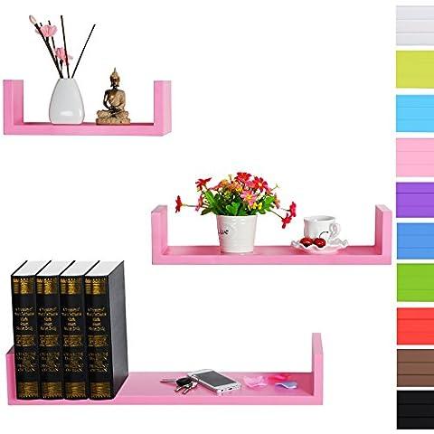 WOLTU RG9239rs Lot de 3 étagères murale en bois,étagère CD,étagère CD DVD murale,Rose
