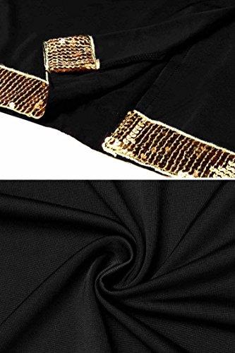 Meaneor Damen Abendkleider Partykleid mit Pailletten an Ärmeln und Saum Rundhalsausschnitt slim fit Ballkleid Schwarz