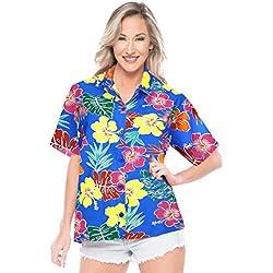 LA LEELA Camisa Hawaiana para la categoría de Vacaciones Playa de Las Mujeres dailywear Ocasional Partido XL - ES Tamaño :- 48-50 Azul_AA144