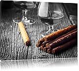 Rauchiger Whisky und kubanische Zigarren schwarz/weiß Format: 120x80 auf Leinwand, XXL riesige Bilder fertig gerahmt mit Keilrahmen, Kunstdruck auf Wandbild mit Rahmen, günstiger als Gemälde oder Ölbild, kein Poster oder Plakat