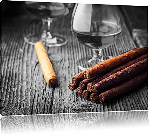 whisky affumicato e sigari cubani nero / bianco Dimensioni: 80x60 su tela, XXL enormi immagini completamente Pagina con la barella, stampa d'arte sul murale con telaio, più economico di pittura o un dipinto a olio, non un manifesto o un banner,