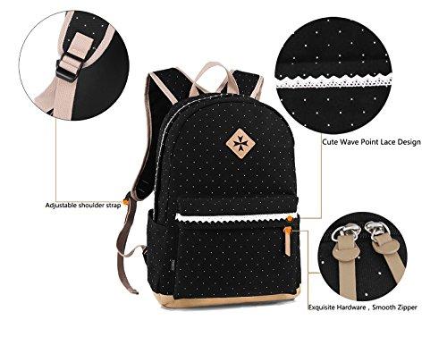 Coofit Damen Mädchen Rucksäcke Schulrucksäcke Canvas Schultaschen Polka Dots Sport Freizeitrucksack - 5