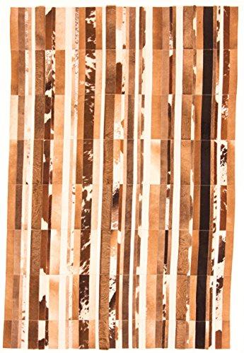 CarpetFine: Kuhfell Teppich 200x300 Beige,Braun - Kariert