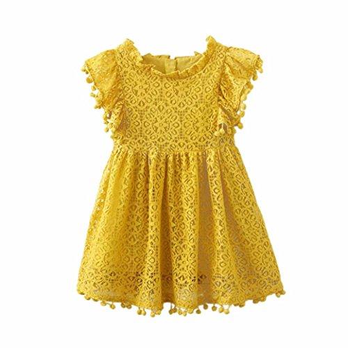 Spitze Hohl Prinzessin Kleid Kleinkind Kinder, DoraMe Baby Mädchen Blumen Mustern Stickerei Party Kleid O-Ausschnitt Lässig Fly Ärmel Kleid (Gelb, 2 Jahr) (Baby-kleid-mantel)