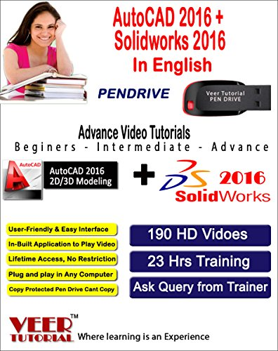 AutoCAD 2016 + Solidworks 2016 Video Training (1 Pen Drive, 22 Hrs, 190 HD Videos) in English