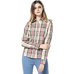 ASAP De Las Mujeres Manga Larga Bordado Algodón Plaid Camisas 1700AL