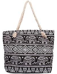 CAPRIUM Strandtasche mit Ethno Elefanten Muster und Reißverschluss, Schultertasche, Shopper, Damen 0009003