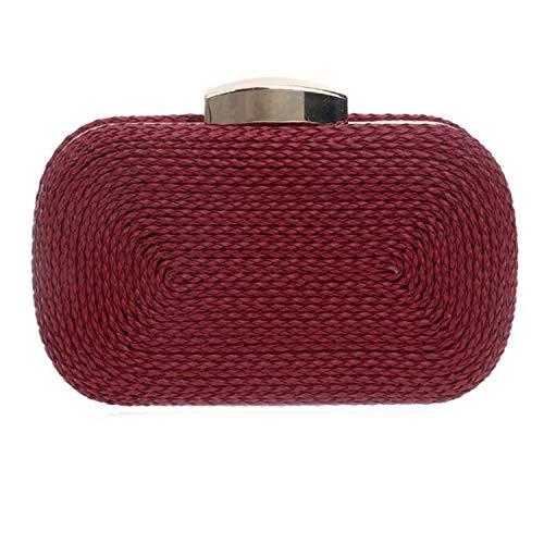Fashion Mini Damen Clutch, Vintage, gestrickt, Clutch, kleine Geldbörse, Abendtasche für Hochzeit, Party, Damenkette, Schultertasche, Rot - weinrot - Größe: Einheitsgröße