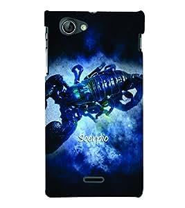 PrintVisa Zodiac Scorpio Scorpion 3D Hard Polycarbonate Designer Back Case Cover for Sony Xperia J ST26i