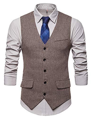 WHATLEES Herren Schmale Tweed Weste mit Zweireihige Knopfleiste, Ba0116-khaki, S