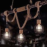 Pumpink Nordic Design Creative Iron Pendelleuchten Kronleuchter American Country Wohnzimmer Restaurant Deckenleuchte Retro Industrial Style Hanf Seil Drei Einstellbare Hängeleuchte