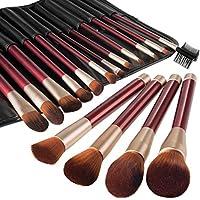 Brochas de Maquillaje 16 Piezas de Anjou, Cerdas de Fibra Sintética Suaves y sin Crueldad, Elegante Rodillo de Cuero de PU Incluido-Color Rojo Vino