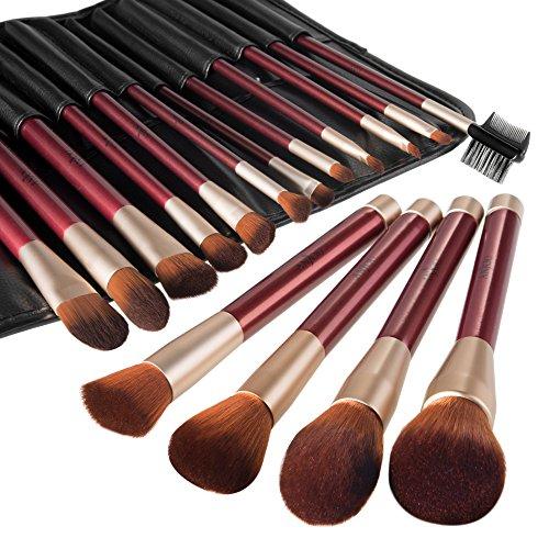 Scopri offerta per Pennelli Make up Anjou per il Trucco Professionali Set di 16 Spazzole Viso Volto Ombretti con Soffici Fibre Sintetiche, Borgogna