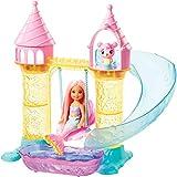 Barbie Dreamtopia Coffret Aire de Jeux château de sable avec poupée Chelsea sirène et Figurine Ourson-Triton, jouet pour enfant, FXT20...