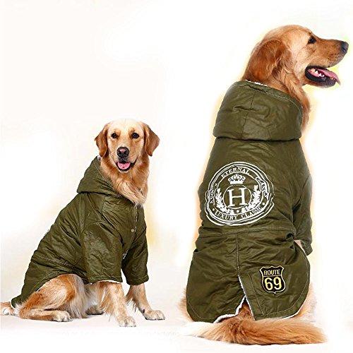 FLAdorepet Armee Grün Winter Warm Große Hunde Haustier Kleidung Hoodie Fleece Golden Retriever Dog Baumwolle Gepolstert Jacke Mantel Kleidung für Hunde, 5XL, Grün Armee-hoodies