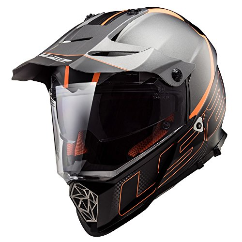 LS2 Casco Moto Mx436 Pioneer Element, Matt Black Titanium, M