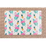 Pink Flamingoes With Leaves Table Mats Table Mat Kitchen & Dining Placements For Home And Kitchen Dinner Table Decor For Home/Kitchen/Wedding/Casual Gift. (Set Of 6)