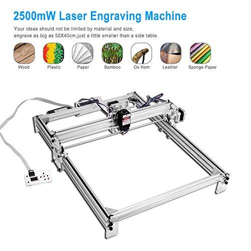 TOPQSC 2500mW 50x40cm Kit de máquina de grabado láser CNC, Impresora de escritorio con logotipo de bricolaje Impresora de marcado de imagen, 12V USB Máquina de corte de grabado de talla de madera
