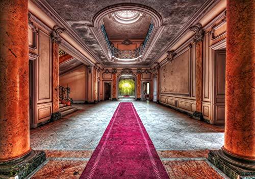 wandmotiv24 Fototapete Orange Korridor Marmor Rosa Teppich S 200 x 140cm - 4 Teile Tapete, Vliestapete, Fototapeten, Wandbild, Motiv-Tapeten Palast Schloss Säulen Flur Verzierung M3660 (Und Verzierungen Orange Rosa)