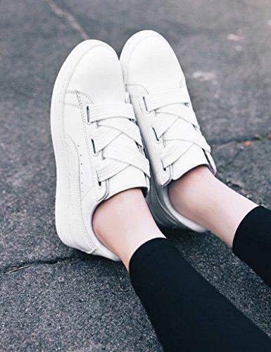 HWF Chaussures femme Chaussures de plate-forme de printemps chaussures de sport plat féminin chaussures simples étudiants femmes ( Couleur : Noir , taille : 39 ) Blanc