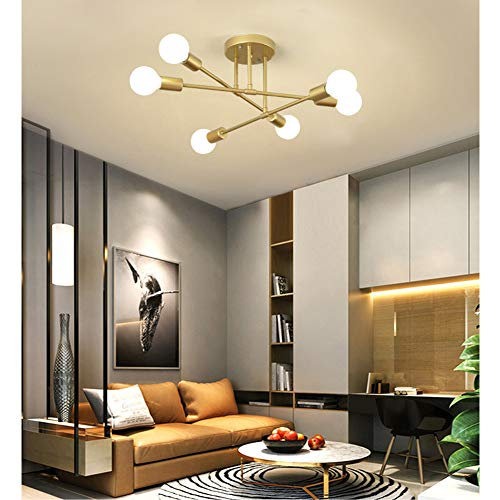 Deckenleuchte Retro Landhaus Gold 6-flammig Deckenlampe Vintage Antik Industrie Style Eisen Decke Lampen für Wohnzimmer Esszimmer Esstisch Schlafzimmer Küche Leuchte Glühbirne E27 Deckenbeleuchtung
